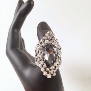 Stretch Ring Large Stone Rhinestones Fits 6-10